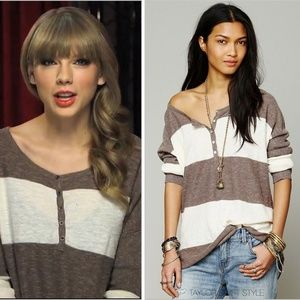 Free People In a Row Henley Top ASO Tay Swift, XS